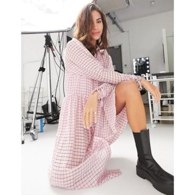 トップショップ レディース ワンピース トップス Topshop organza midi shirt dress in pink plaid
