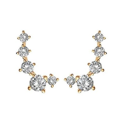 PAVOI 14K Yellow Gold Plated Cubic Zirconia Ear Crawler | Cuff Earrings | Hypoallergenic Stud Ear Climber Jackets【並行輸入品】