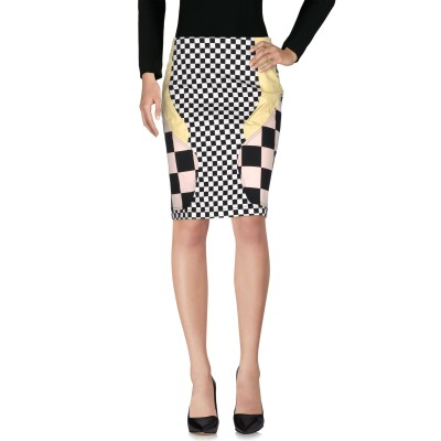 ラブ モスキーノ LOVE MOSCHINO ひざ丈スカート ライトイエロー 46 コットン 98% / ポリウレタン 2% ひざ丈スカート