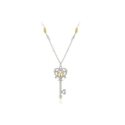 海外セレクション ダイヤモンド 925 シルバー 2-Tone イエロー ダイヤモンド Owl ハート Key ネックレス