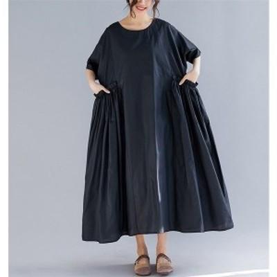 レディース ロングワンピース 40代 大きいサイズ ワンピース コットンリネン ゆったり 体型カバー 綿麻混ワンピース 半袖 ママワンピース
