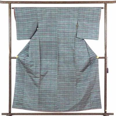 リサイクル着物 紬 正絹グレー地先染格子模様袷真綿紬着物