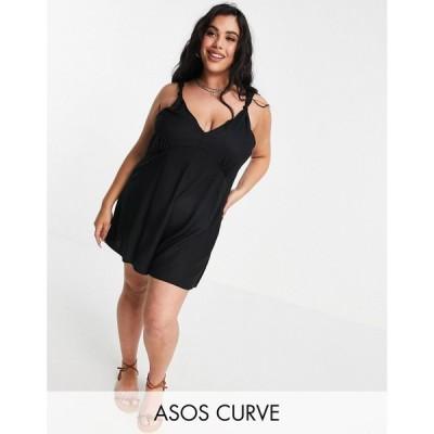エイソス ASOS Curve レディース オールインワン ショート Vネック ワンピース・ドレス Curve V Neck Tie Shoulder Swing Playsuit In Black ブラック