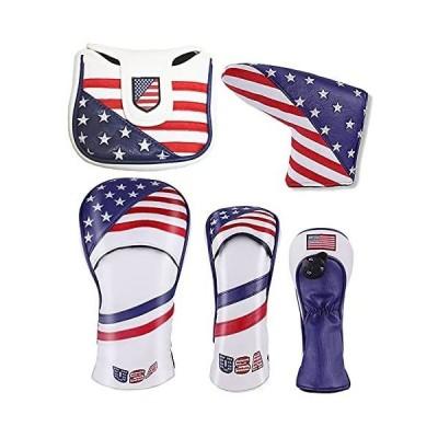 SelectPlaza カスタムデザイン◆ ヘッドカバー 米国旗柄 USA Flag ◆ ドライバー/フェアウェイウッド/パター セレクトプラザ (フ