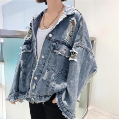 デニムジャケット レディース デニムジャケット デニムジャケット 大きいサイズ Gジャン ハイダメージ アウター 韓国 ファッション