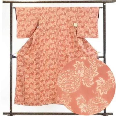 リサイクル着物 小紋 正絹茶ローズ地花柄袷小紋着物
