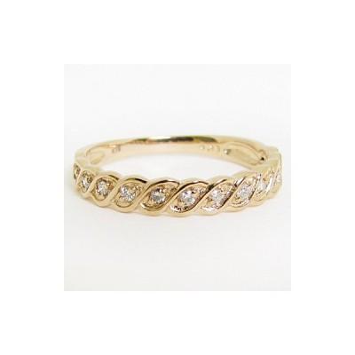 天然ダイヤモンド リング 指輪 K18PG ピンクゴールド 縄目 鎖風 デザイン約0.12ct