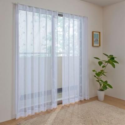 トルコ刺繍ボイルカーテン/ホワイト/幅100×丈98cm(2枚組)