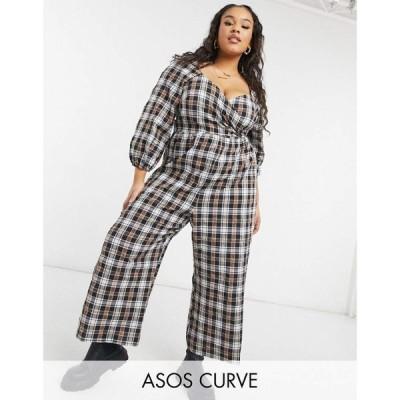 エイソス ASOS Curve レディース オールインワン ジャンプスーツ Asos Design Curve Wrap Crinkle Jumpsuit With Tie Sleeve In Check チェック