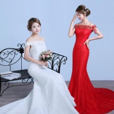 花嫁結婚式司會者披露宴 新入荷レディースマーメイドトレーンウェディングドレス二次會パーティードレスパンコール撮影寫真