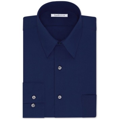 ヴァンハウセン シャツ トップス メンズ Men's Classic/Regular Fit Wrinkle Free Poplin Solid Dress Shirt Persian Blue