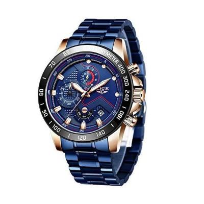 腕時計 メンズ ラグジュアリー ブランド LIGE クロノグラフ メンズ スポーツウォッチ 防水 フルスチール クオーツ メンズウォッチ 3-ブルー