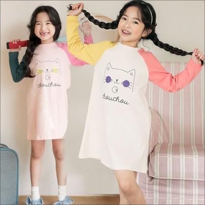 キッズ Tシャツ 長袖 猫イラスト ロング 子供服  女の子   トップス