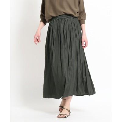 WORLD ONLINE STORE SELECT / 【XS~L・ウエストゴム】サテンギャザースカート<揺れるたび、美しい光沢感> WOMEN スカート > スカート