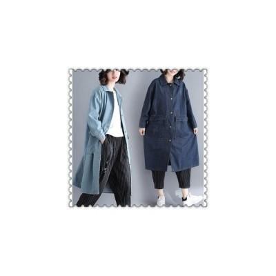 スプリングコートトレンチコートレディース秋デニムコート春Gジャンロングゆったりアウターカジュアル20代30代40代ファッション