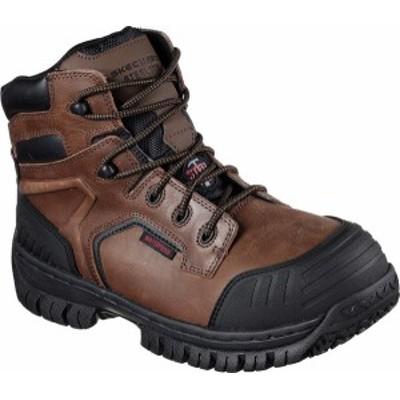 スケッチャーズ メンズ ブーツ・レインブーツ シューズ Men's Skechers Work Hartan Onkin Steel Toe Waterproof Boot Dark Brown