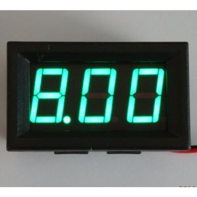 パネル取り付け枠付きデジタル電圧計 緑 4.5〜30V 【簡単2線式】