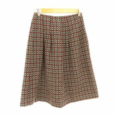 【中古】ROSTRO 膝丈スカート フレア 総柄 白 赤 水色 黒 64 *E703 レディース