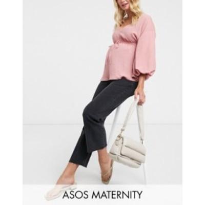 エイソス レディース デニムパンツ ボトムス ASOS DESIGN Maternity high rise stretch 'effortless' crop kick flare jeans in washed b