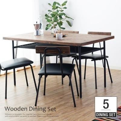 ダイニングテーブルセット 5点 4人用 食卓 おしゃれ カフェ スタイル ロウヤ LOWYA