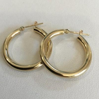 ピアス 18金 3x25mm フープ / K18 3x25mm hoop pierce