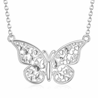 PEIMKO Butterfly Pendant Necklace Sterling Silver Filigree Butterfly Necklace Birthday Gift for Women