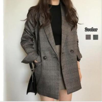 韓国ファッション オルチャン チェックジャケット コート アウター