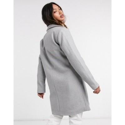 ヴィラ レディース コート アウター Vila tailored pea coat in gray Light gray melange