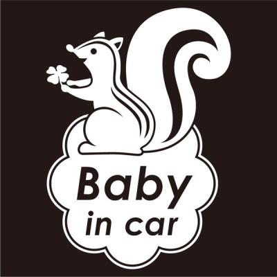 imoninn BABY in car ステッカー 【シンプル版】 No.36 リスさん