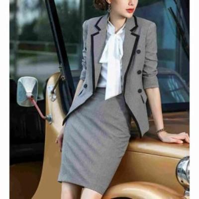 スカートスーツ ステッチデザインテーラードジャケットとタイトスカートセットアップ☆七分袖 襟パイピング 膝丈スカート 千鳥格子