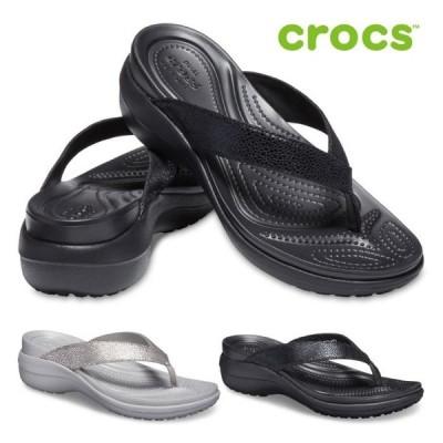 クロックス crocs トングサンダル レディース カプリ メタリック テクスチャー ウェッジ フリップ 205782 ビーチサンダル セール