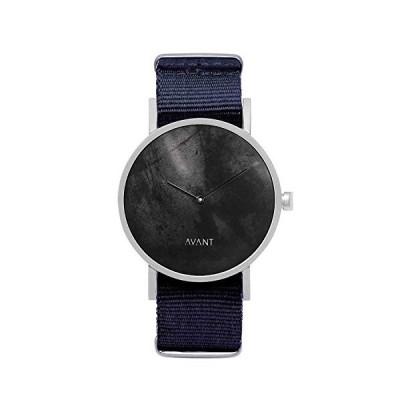 South Lane ステンレススチール スイス製クオーツ腕時計 レザーカーフスキンストラップ ブラック 20 (モデル:AW18-2-73)