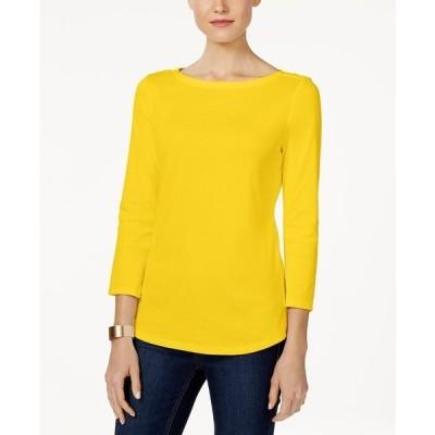 チャータークラブ カットソー トップス レディース Pima Cotton  Boat-Neck Button-Shoulder Top, Created  for Macy's Bold Lemon