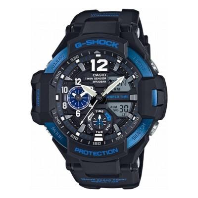 腕時計 メンズ カシオ Gショック(G-SHOCK) 1100型 アナデジ グラビティマスター スカイコックピット クォーツ ブラック×ブルー色 GA-1100-2B 逆輸入品