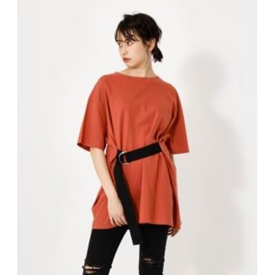 【50%OFF】 WAIST BELT BIG TEE/ウエストベルトビッグTシャツ WOMENSレディース