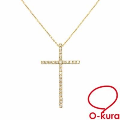 中古 ダイヤモンド クロスモチーフ ネックレス レディース K18YG 0.39ct 4.2g 750 18金 イエローゴールド