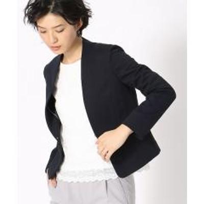 COMME CA ISM(コムサイズム)《UVカット/ウォッシャブル》 ジャージー ノーカラー ジャケット 日本素材