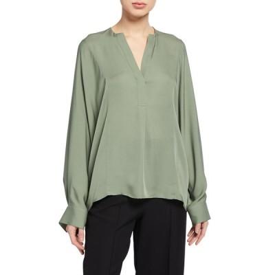 ヴィンス レディース シャツ トップス Half Placket Long-Sleeve Silk Blouse