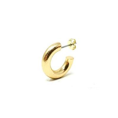 [Puente] ピアス 片耳 半円 フープピアス 太目 太い 太め ポスト チタン 金属アレルギー対応 メンズ レディース ゴールド GOLD 17