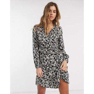 ニュールック レディース ワンピース トップス New Look floral mini dress in black Black pattern