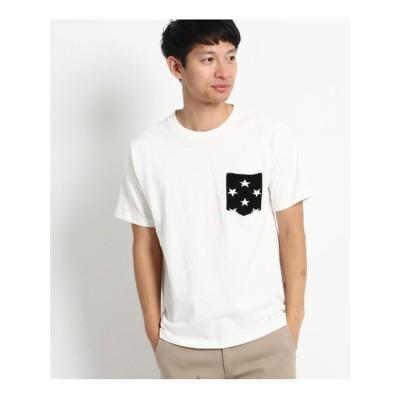 ベース コントロール BASE CONTROL ◆【WEB限定】ボーダー スター 異素材ポケットTシャツ (アイボリー)