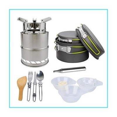 Bling Camping Cookware with Wood Stove and Stainless Steel Fork Knife Spoon Kit for Backpacking, Outdoor Camping Hiking and Picnic【並行
