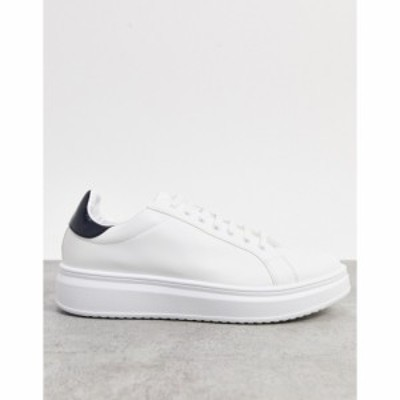 エイソス ASOS DESIGN メンズ スニーカー シューズ・靴 Trainers In White With Contrast Back Tab ホワイト