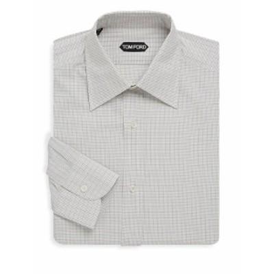 トムフォード メンズ ドレスシャツ ワイシャツ Checkered Cotton Dress Shirt