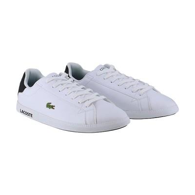 ラコステ(LACOSTE) メンズ スニーカー GRADUATE 0120 2 ホワイト×ブラック SM00750 147 レザー カジュアルシューズ おしゃれ ワニ 靴