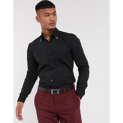 ロックストック Lockstock メンズ トップス Eastwood metal collar tipped shirt in black ブラック