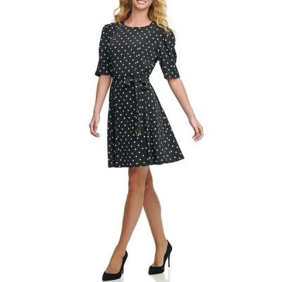 トミー ヒルフィガー レディース ワンピース トップス Classic Dot Twill Elbow Sleeve Fit & Flare Dress Black/Cream