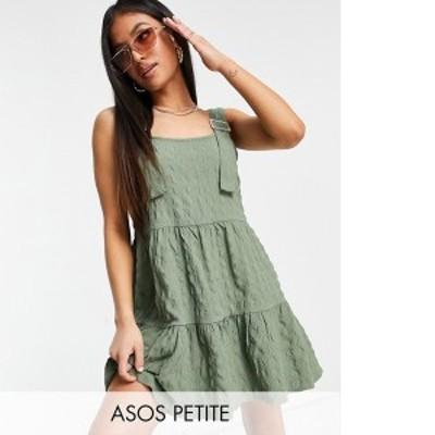 エイソス レディース ワンピース トップス ASOS DESIGN Petite overalls mini sundress in bubble texture in khaki Khaki