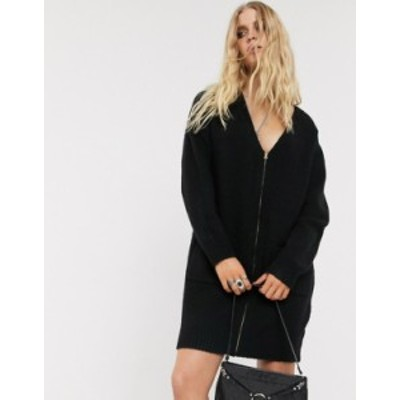 エイソス レディース ワンピース トップス ASOS DESIGN fluffy cardigan dress with zip detail Black