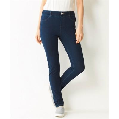 【大きいサイズ】 ストレッチひんやりニットデニムスキニーパンツ(もっともっとゆったり太もも)(選べる2レングス) パンツ, plus size pants